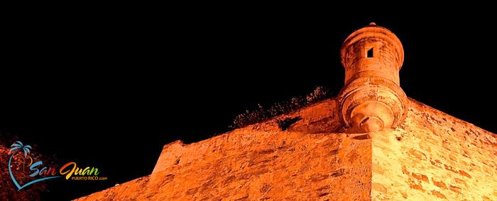City Wall at Night in Old San Juan, Puerto Rico