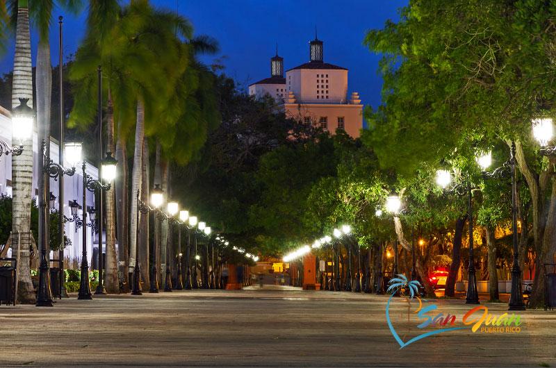 Night Scene along Paseo de la Princesa - Old San Juan, Puerto Rico